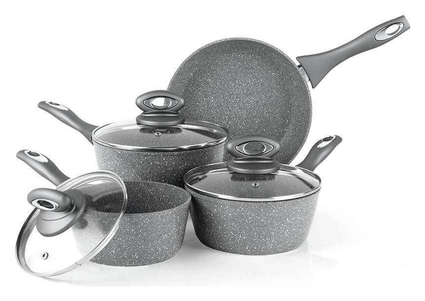 Salter - 4 Piece Aluminium Marble Effect Pan Set from Salter