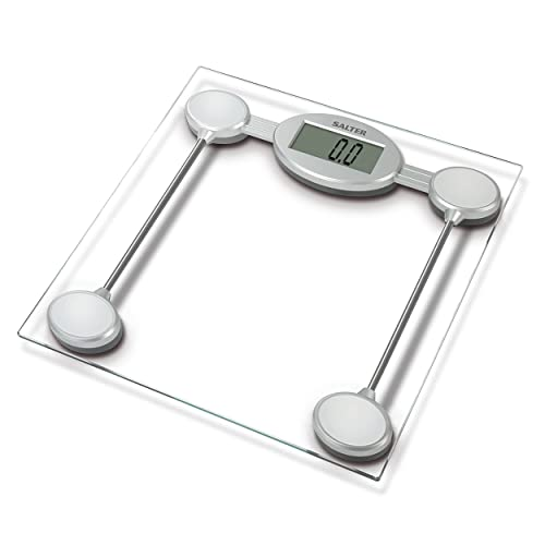 Salter Digital Bathroom Scales – Electronic Body Weighing, Metric kg/Imperial lb, Toughened Glass Platform, Easy Read Display, Step On for Instant Weight Reading, 15 Year Guarantee from Salter