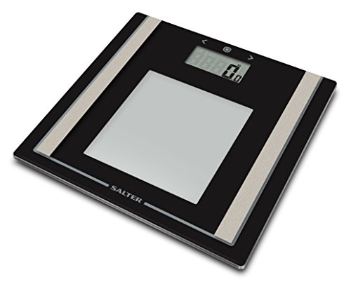 Salter Digital Body Analyser Bathroom Scale (Weight, Body Fat Percentage, BMI, Ultra Slim, Toughened Glass, Step-On Technology, Easy Read LCD Display) -Black/Silver from Salter