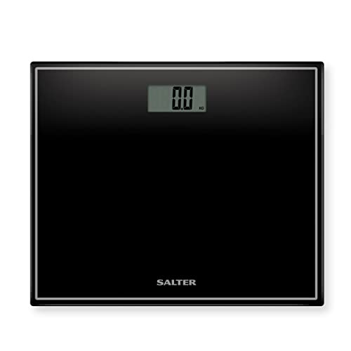 Salter Compact Digital Bathroom Scales - Toughened Glass, Measure Body Weight Metric / Imperial, Easy to Read Digital Display, Instant Precise Reading w/ Step-On Feature, 15Yr Guarantee - Black from Salter
