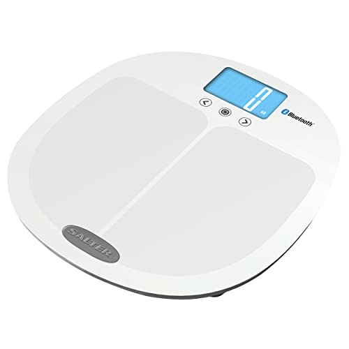 Salter Curve - Bluetooth Smart Analyser Bathroom Scales, Connect Smartphone + Monitor Progress w/MiBody App, Instant Reading of Weight, Body Fat, Water, Muscle + Bone Mass, BMI, BMR, 15 Yr Guarantee from Salter