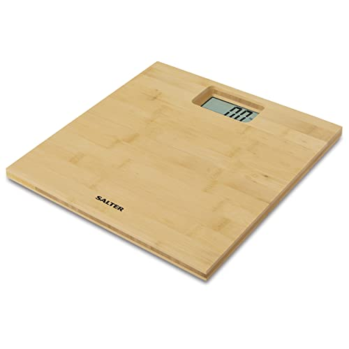 Salter Digital Bathroom Scales – Electronic Body Weighing, Metric kg / Imperial lb, Water Resistant Bamboo Platform, Easy Read Display, Step On Instant Weight Reading, 15 Year Guarantee from Salter