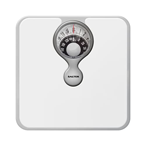 Salter Mechanical Bathroom Scales - Easy to Read Magnified Display for Weighing with Precision, Measure in St, lbs, Kg, Comfortable Cushioned Platform, No Batteries, Simple Step-on - White from Salter