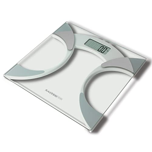 Salter Ultra Slim Analyser Bathroom Scales, Measure Weight BMI Body Fat Percentage Body Water, Slim 25mm Design, Tough 6mm Glass with Carpet Feet, Easy to Read Digital Display - Glass. from Salter