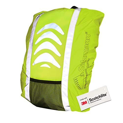 Salzmann 3M Classic Yellow Reflective Rucksack Cover made with 3M Scotchlite, Backpack Cover, Waterproof, Rainproof, for Standard Size Cyclist's Backpack from Salzmann