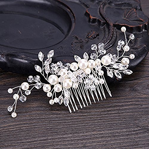 Samidy Bridal Flower Side Hair Clips Pearl Bridal Headpiece Wedding Accessories from Samidy