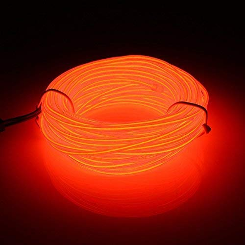 EL Wire, 5M Flexible Neon 3 Light Modes Portable Battery Powered Electroluminescence Wire Pack Drivers High Brightness for Xmas Car Party Decoration Wedding Pub (16ft/5m)(Orange) from San Jison