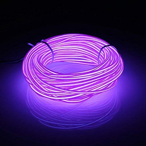 EL Wire 16ft/5m Tube Rope Battery Powered Flexible Portable Light Neon Tube Illumination Electroluminescence Wires Pack Drivers with 3 Modes for Xmas Party Decoration Wedding Pub(Purple) from San Jison