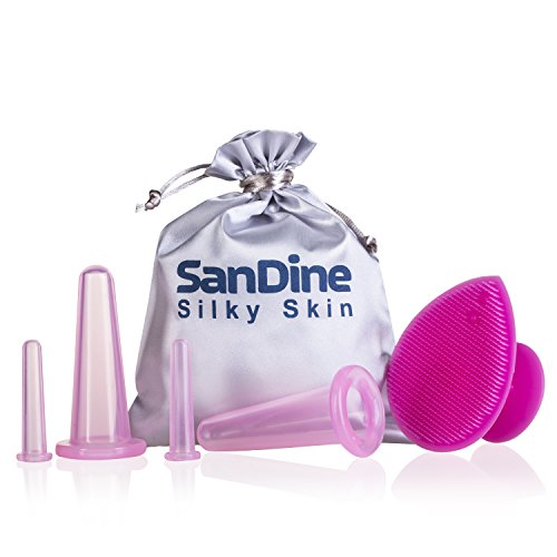Cupping Therapy Set for Face - Double Chin Reducer - Face Cupping Set - Ideal to Cup Your Cheeks, Chin and Lips - Facial Cupping Sets - Anti Cellulite Silicone Cups Kit - by Sandine (Pink) from SanDine Silky Skin