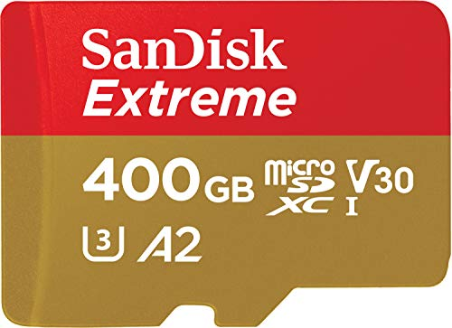SanDisk Extreme 400 GB microSDXC Memory Card + SD Adapter with A2 App Performance + Rescue Pro Deluxe, Up to 160 MB/s, Class 10, UHS-I, U3, V30 from SanDisk