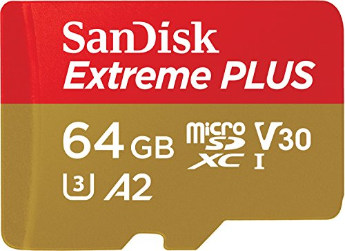 SanDisk Extreme PLUS 64 GB microSDXC Memory Card + SD Adapter with A2 App Performance up to 170 MB/s, Class 10, U3, V30 from SanDisk