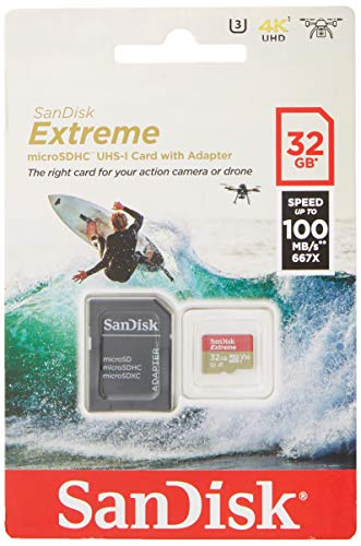 SanDisk Extreme 32 GB microSDhC Memory Card for Action Cameras and Drones with A1 App Performance up to 100 MB/s, Class 10, U3, V30 from SanDisk