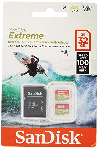 SanDisk Extreme 32 GB microSDhC Memory Card for Action Cameras and Drones with A1 App Performance up to 100 MB/s, Class 10, U3, V30 - Twin Pack from SanDisk