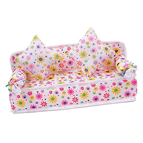Mini Flower Sofa Couch +2 Cushions For Doll House Accessories from SanWay