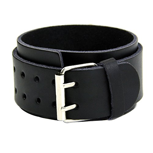 Sanwood Adjustable 2 Layers Men's Faux Leather Wristband Buckle Cuff Bangle Bracelet (Black) from Sanwood