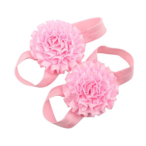 Sanwood Baby Girl Ribbon Flowers Barefoot Sandals Shoes (Pink) from Sanwood