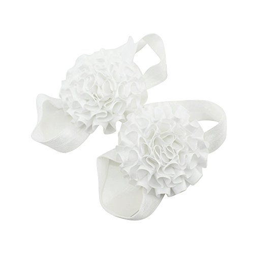 Sanwood Baby Girl Ribbon Flowers Barefoot Sandals Shoes (White) from Sanwood