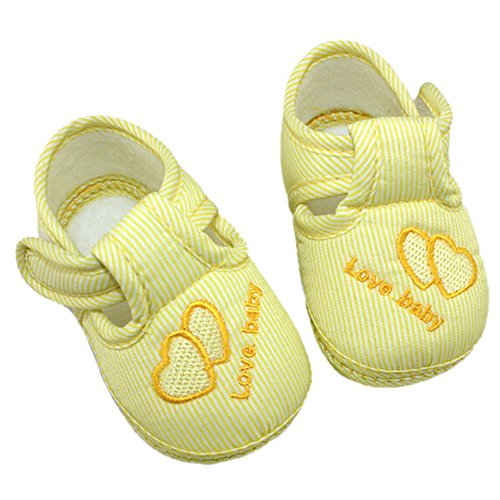 Sanwood Heart Baby Toddler Soft Sole Infant Shoes (Size 11, Yellow) from Sanwood