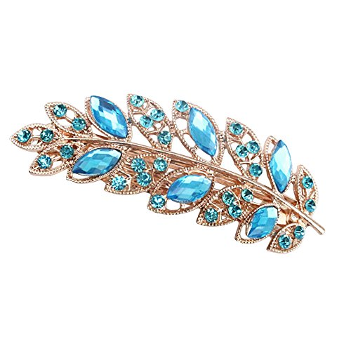 Sanwood Women Flower Leaf Crystal Rhinestone Hair Barrette Clip Jewelry (Leaf + Lake Blue ) from Sanwood