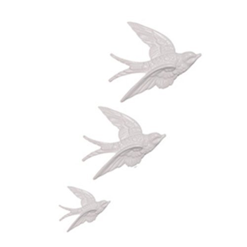 Ceramic Swallows, Set of Three, Four Colour Choices Available (White) from Sass & Belle