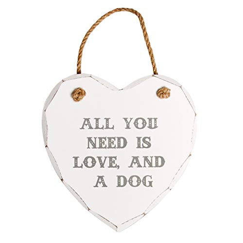 Sass & Belle All You Need is Love and A Dog Heart Plaque, White from Sass & Belle
