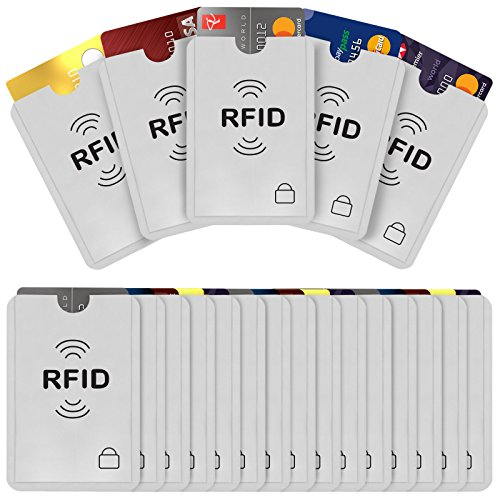 Savisto RFID Blocking Credit Card Sleeves | 20 Pack of Contactless Card Protection Holders for Identity Theft Protection - Ideal for Debit and Credit Cards, ID & Key Cards - Silver from Savisto