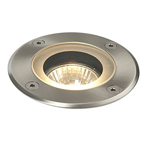 Saxby 50W Round Marine Grade Brushed Stainless Steel IP65 Outdoor Garden Walkover Decking Recessed Ground Light Uplighter from Saxby Lighting