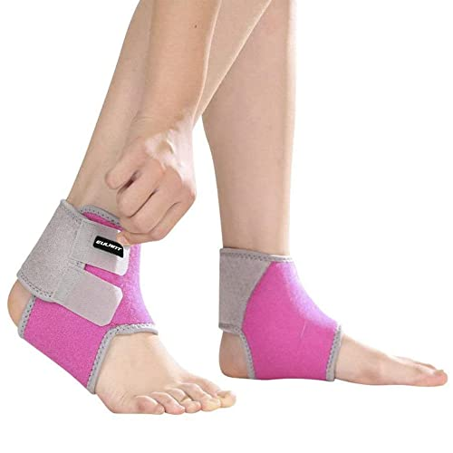 Sborter Ankle Support Kids, 1 Pair Boys Ankle Brace,Girls Ankle Compression Bandage,Breathable Children Foot Guard Ankle Protector for Running Cycling Dancing Martial Arts Equestrian Skating Skateboard Scooter Skiing Basketball Football Pulley,Rose,M from Sborter