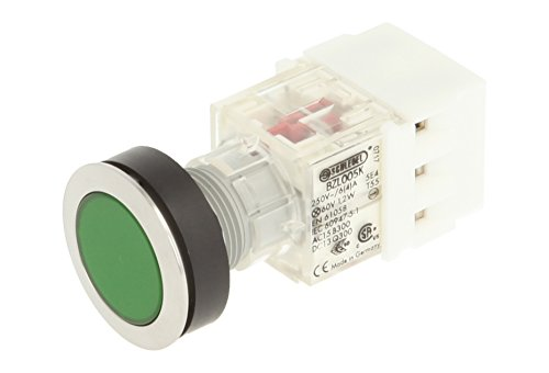 Club 23.000.501 Stainless Steel Press Button Switch Cap Light Up Push Button Contact Encoder 2 Opener and Screw On Connector 24 V LED Green (Pack of 2) from Schlegel
