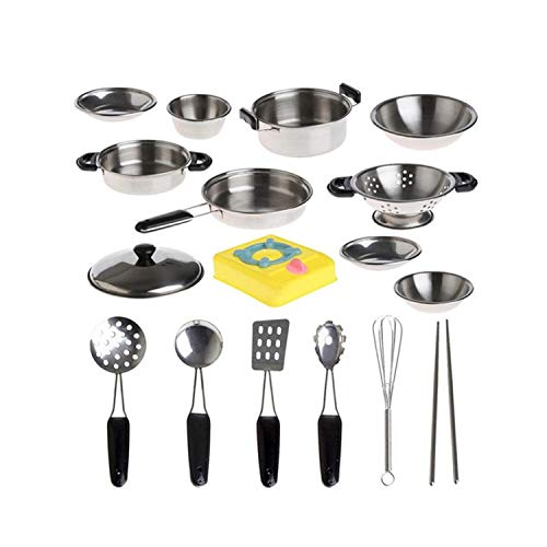 Scoolr Stainless Steel Pots and Pans Pretend Play Kitchen Set for Kids from Scoolr