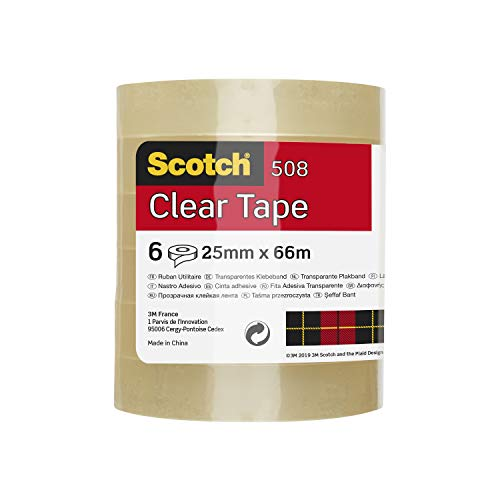 Scotch ET2566T6 Easy Tear Tape, 25 mm x 66 m - Clear, Pack of 6 Rolls from Scotch