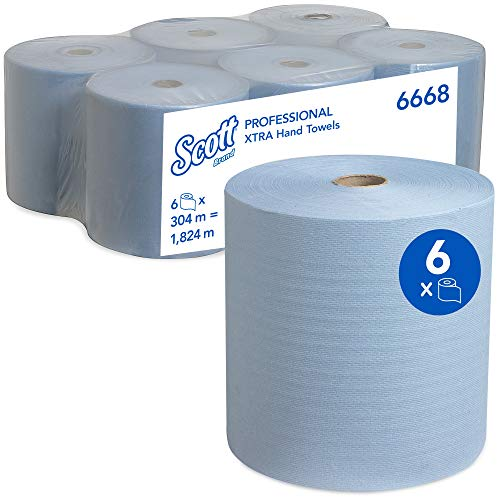 Scott 6668, Rolled Hand Towels, 1 ply, Small, Blue, 6 Rolls x 304 m from Scott