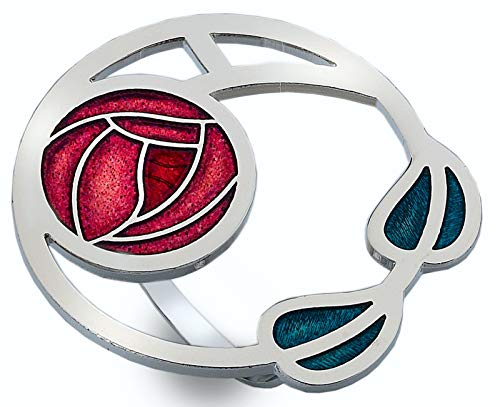 Scarf Ring - Enamel Mackintosh Roses and leaves - Red from Sea Gems