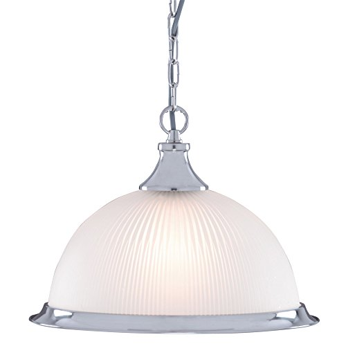 American Diner Satin Silver and Opaque Glass Ceiling Pendant Light, 1044 from Searchlight Lighting
