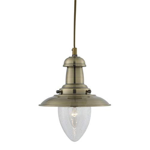5787AB Small Fisherman Ceiling Light in Antique Brass from Searchlight
