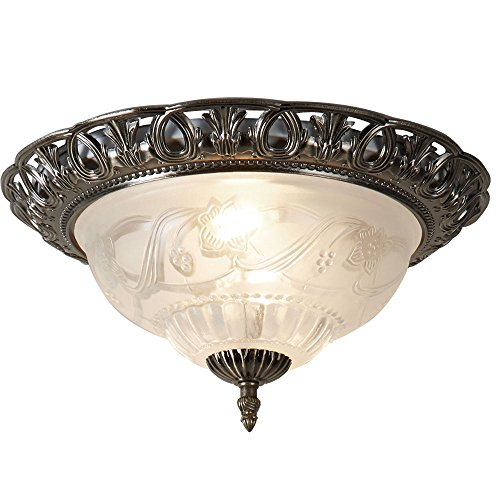 7045-13 Traditional Antique Brass and Glass Flush Ceiling Light from Searchlight