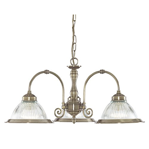 Searchlight American Diner Antique Brass and Clear Ribbed Glass 3 Way Pendant Light Fitting Takes 3 X 10 Watt E27 Lamps from Searchlight