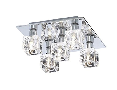 Modern 5 Light Ice Cube Flush Ceiling Light with Chrome Backplate - LED Compatible from Searchlight