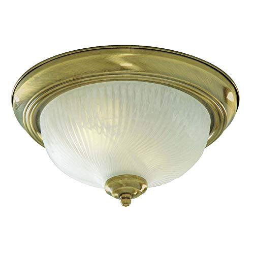 Searchlight Lighting 7622-11AB Antique Brass Finish Flush Ceiling Light with Ribbed Glass Diffuser, 2 x 40 watts from Searchlight
