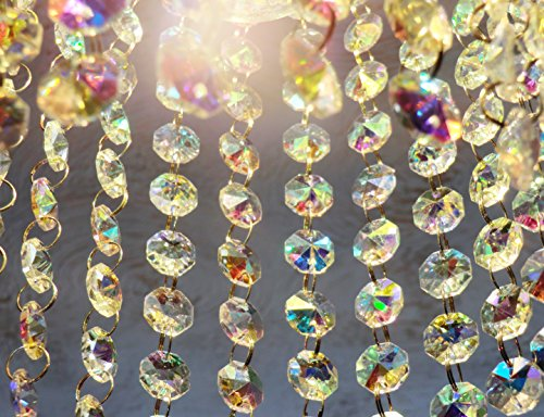 100 AB Aurora Borealis 14mm Octagon Chandelier Drops Light Parts Cut Glass Crystals Droplets Beads Christmas Tree Ornaments Wedding Wishing Decorations Garlands Sun Bead Chains from Seear Lights