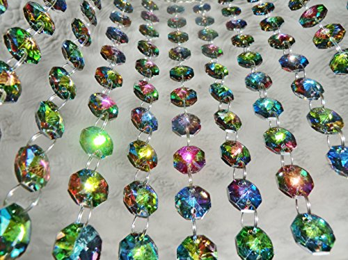 100 Vitrail Gothic Rainbow 14mm Octagon Chandelier Drops Light Parts Cut Glass Crystals Droplets Beads Christmas Tree Ornaments Wedding Wishing Decorations Garlands Sun Bead Chains from Seear Lights