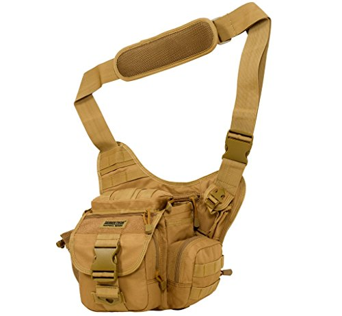 Seibertron Multi-functional Tactical Assault Gear Sling Pack Range Bag Heavy Duty Shoulder Strap Hiking EDC Messenger Molle Bag Travel Camera Compact Utility Military Bag (Khaki) from Seibertron