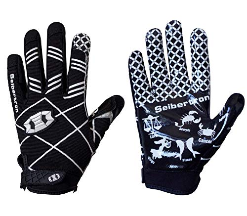 Seibertron Pro 3.0 12 Constellations Elite Ultra-Stick Sports Receiver Glove Football Gloves Youth And Kids Black M from Seibertron
