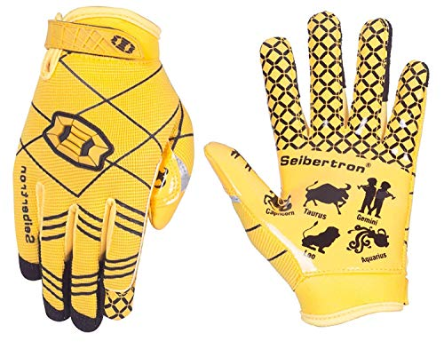 Seibertron Pro 3.0 12 Constellations Elite Ultra-Stick Sports Receiver Glove Football Gloves Youth And Kids (yellow, M) from Seibertron