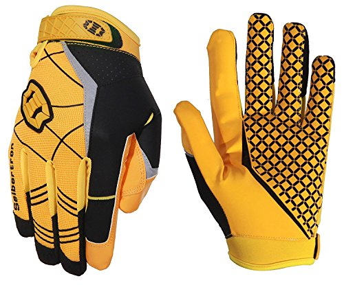 Seibertron Pro 3.0 Elite Ultra-Stick Sports Receiver Glove Football Gloves Youth and Adult (Yellow, S) from Seibertron