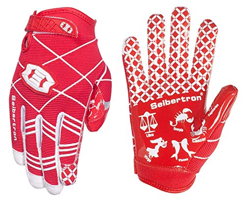 Seibertron Pro 3.0 Twelve Constellations Elite Ultra-Stick Sports Receiver Glove Football Gloves Youth (red, L) from Seibertron