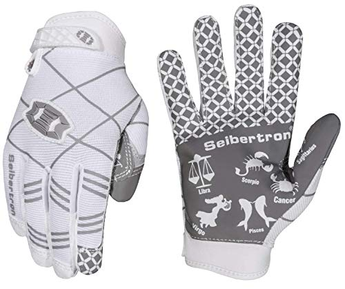 Seibertron Pro 3.0 Twelve Constellations Elite Ultra-Stick Sports Receiver Glove Football Gloves Youth White XL from Seibertron