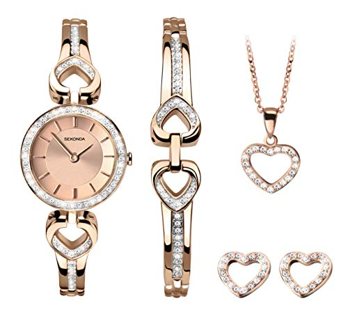 SEKONDA Womens Analogue Classic Quartz Watch with Rose Gold Strap 2363G.68 from Sekonda
