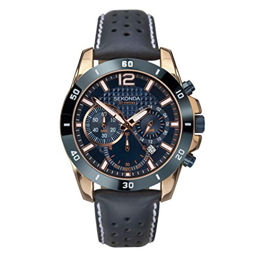 SEKONDA Mens Chronograph Quartz Watch with Leather Strap 1489.27 from Sekonda