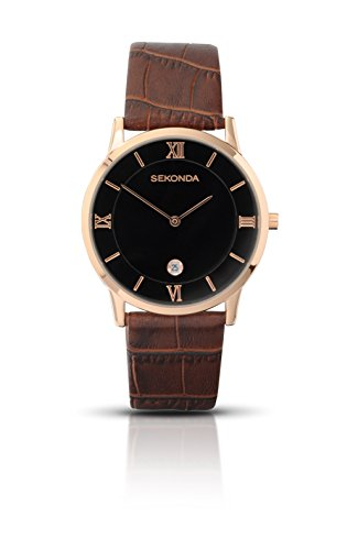 Sekonda Men's Quartz Watch with Black Dial Analogue Display and Brown Leather Strap 3207.27 from Sekonda
